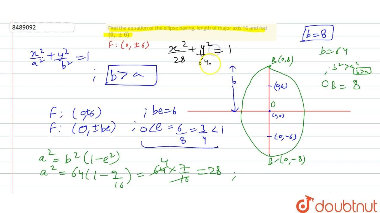 Find the equation of the ellipse having, length of major axis 16 and foci (0, +- 6)