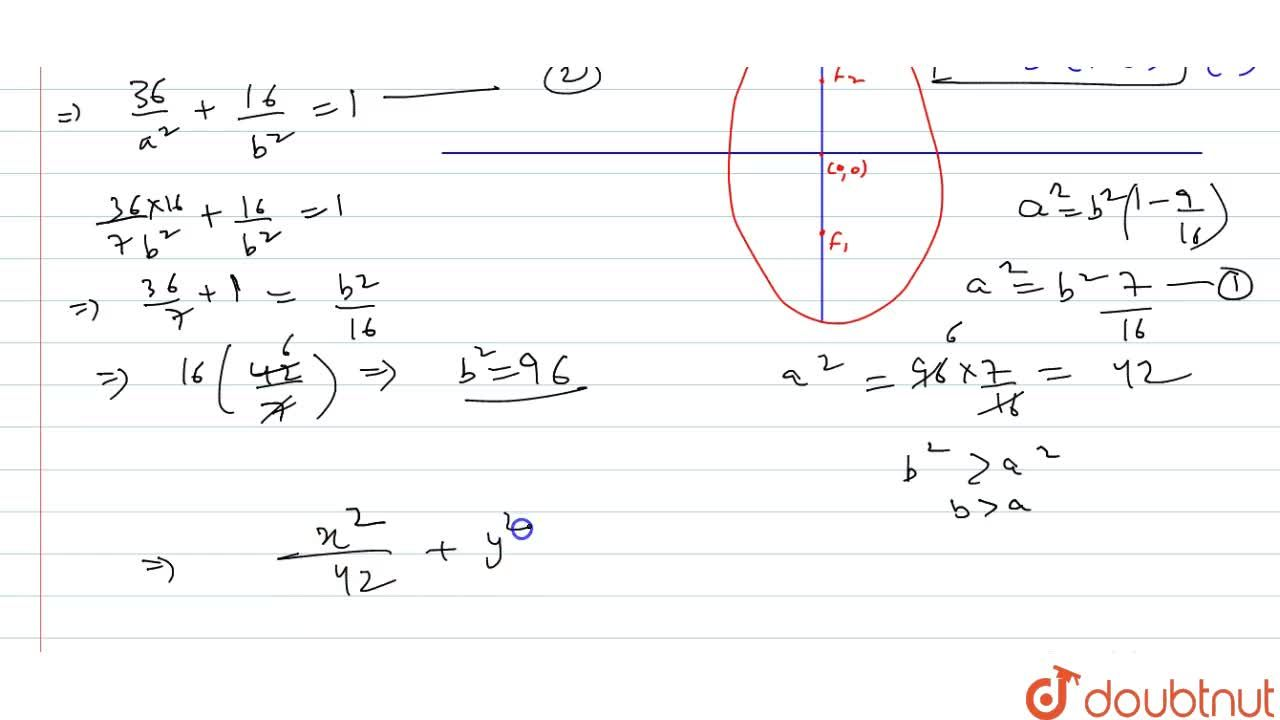 Solution for Find the equation of the ellipse passing through (