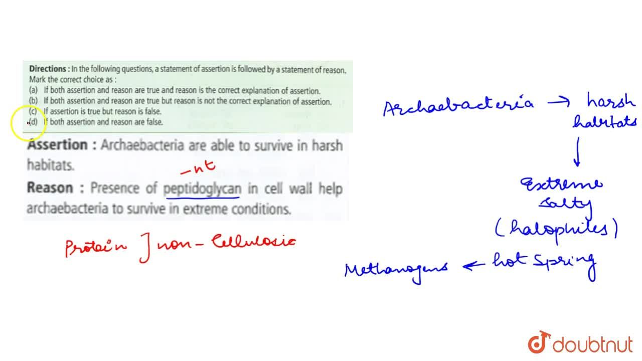 Solution for Asseration : Archaebacteria are able to survive in