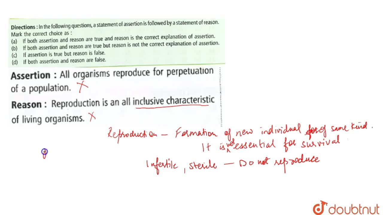 Solution for Assertion : All organisms reproduce for perpetuati