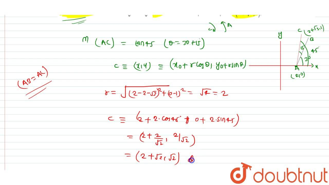Solution for A line segement AB through the point A(2, 0) whi