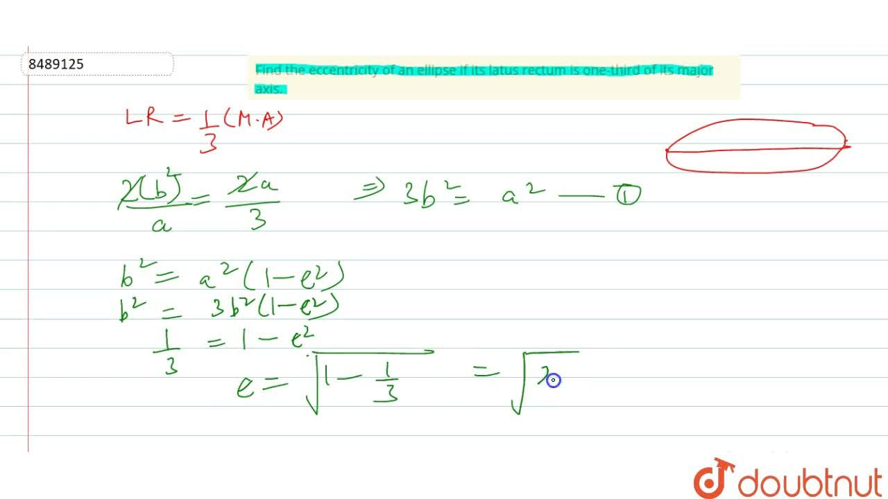 Solution for Find the eccentricity of an ellipse if its latus r