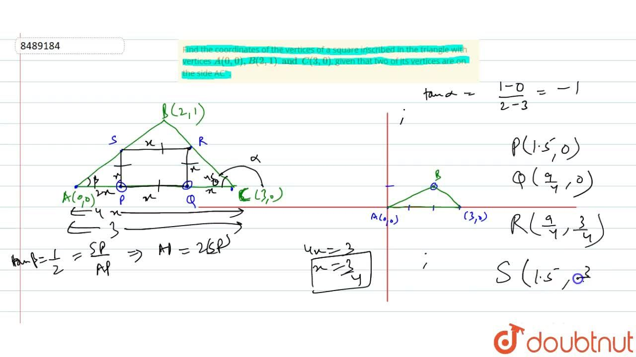 Solution for Find the coordinates of the vertices of a square i