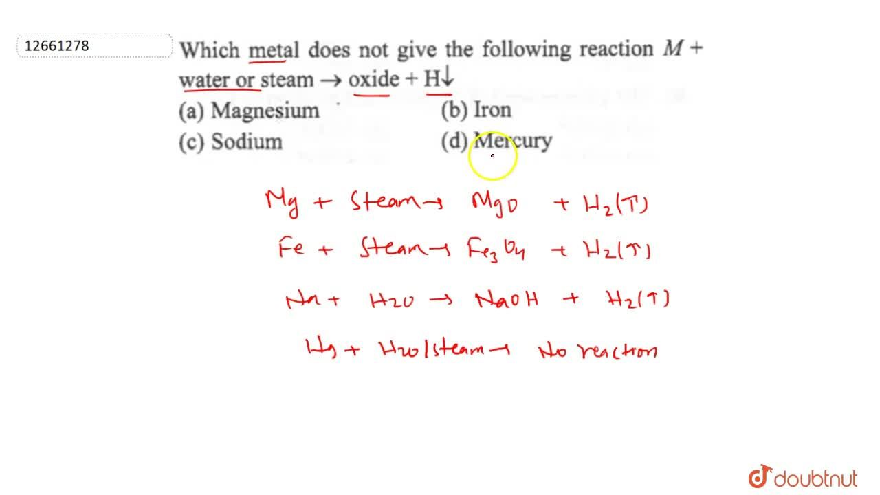 Solution for Which metal does not give the following reaction