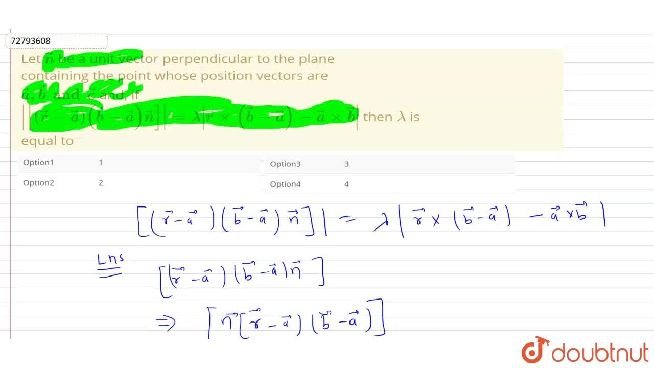 Solution for Let vecn be a unit vector perpendicular to the p
