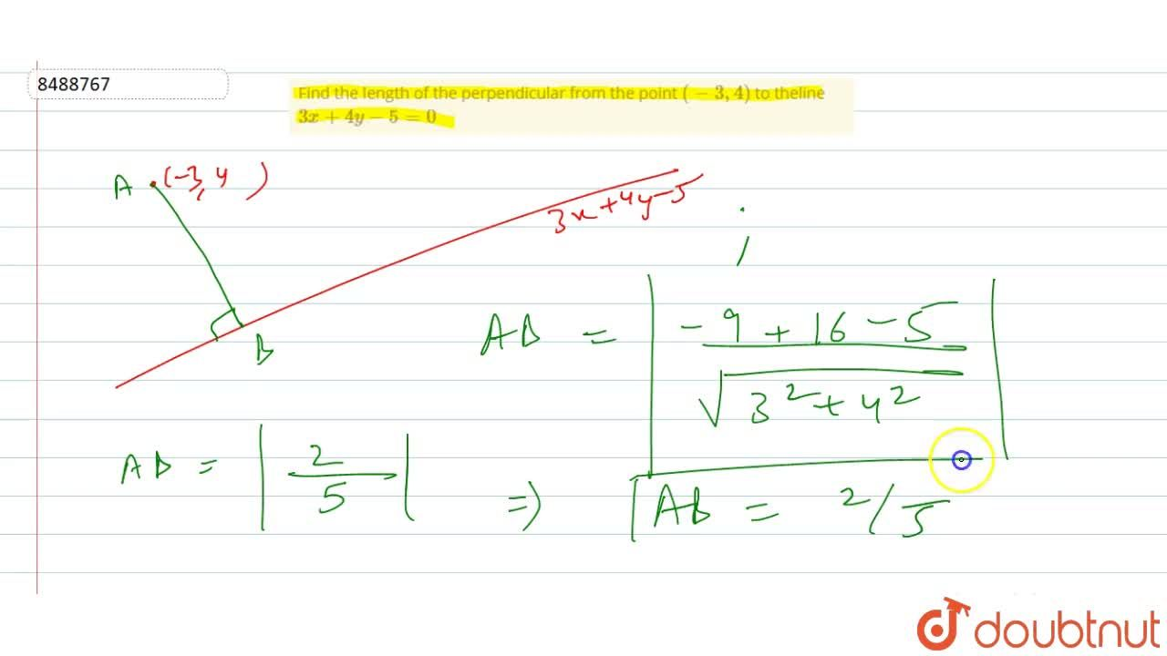 Find the length of the perpendicular from the point (-3, 4) to theline 3x+4y-5=0