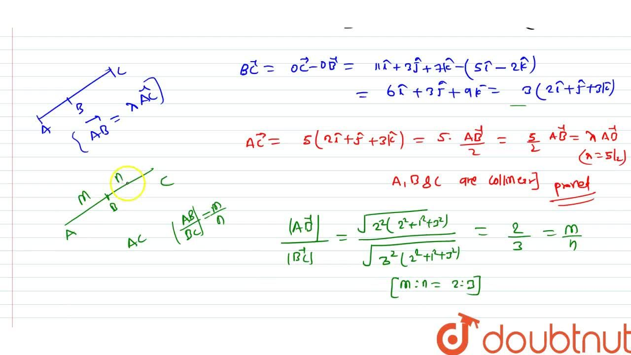 Solution for  prove that  three points A(1,-2,-8), B(5,0-2) an