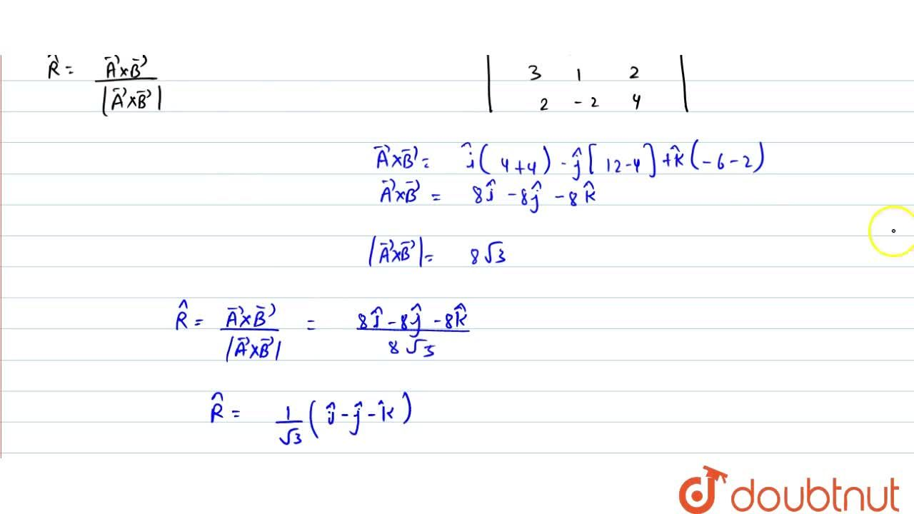 Solution for Dine the unit vector peroendicular to each of the