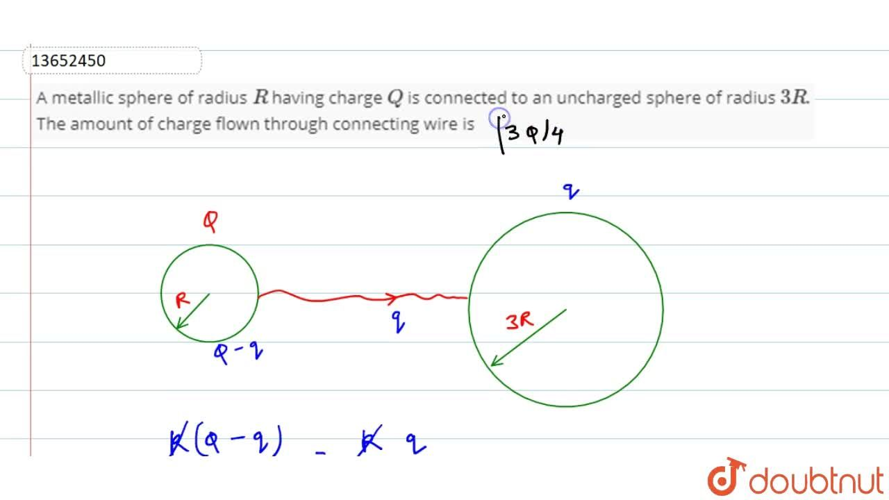 Solution for A metallic sphere of radius R having charge Q