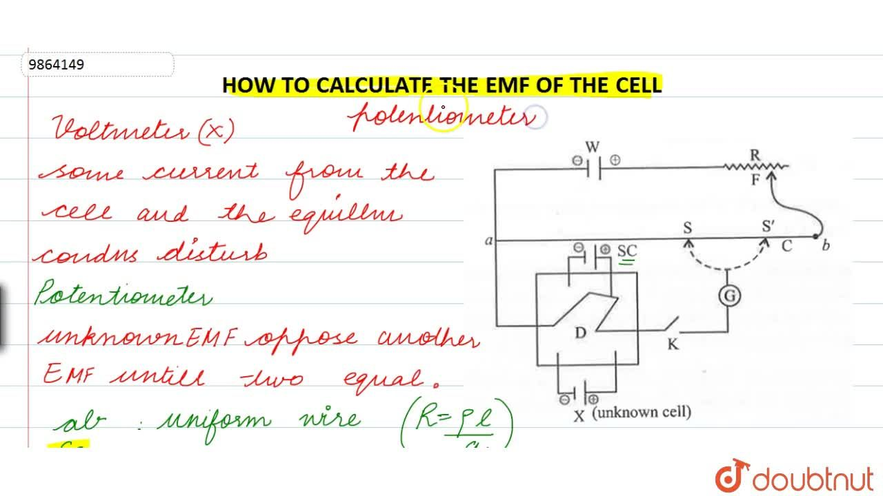 Solution for HOW TO CALCULATE EMF OF CELL?
