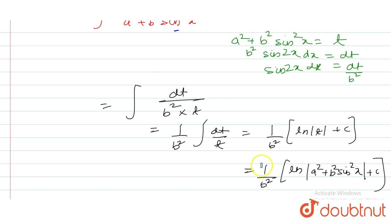 Solution for int(sin2x),(a^2+b^2sin^2x)dx