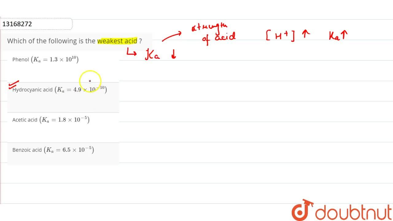 Solution for Which of the following is the weakest acid ?