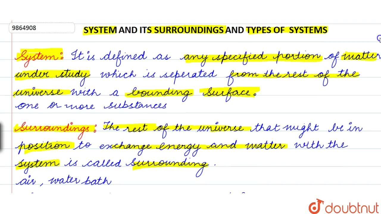 Solution for System And Its Surroundings And Types Of System