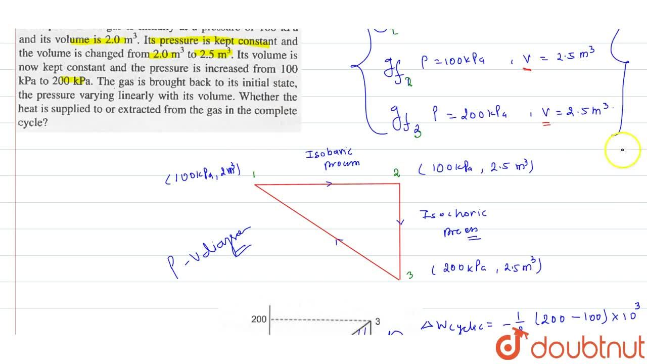 Solution for A gas is initially at a pressure of 100 kPa and it
