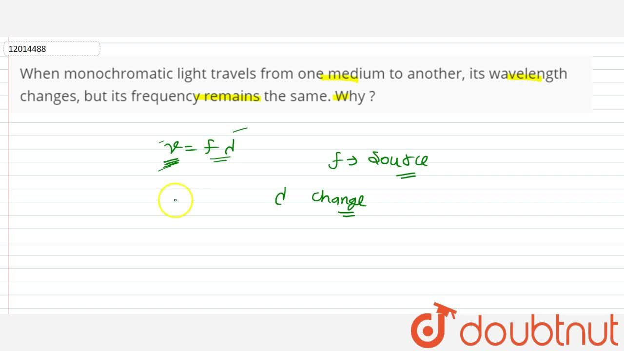 Solution for When monochromatic light travels from one medium t