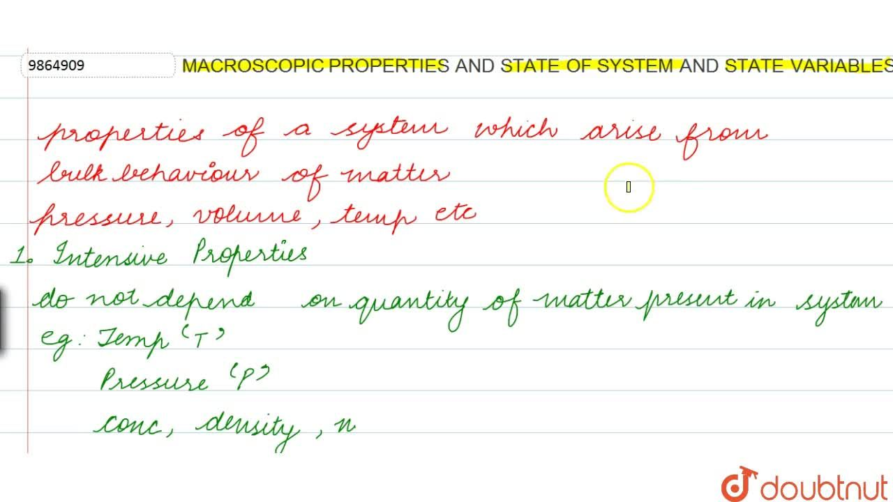 Solution for Macroscopic Properties And State Of System And Sta
