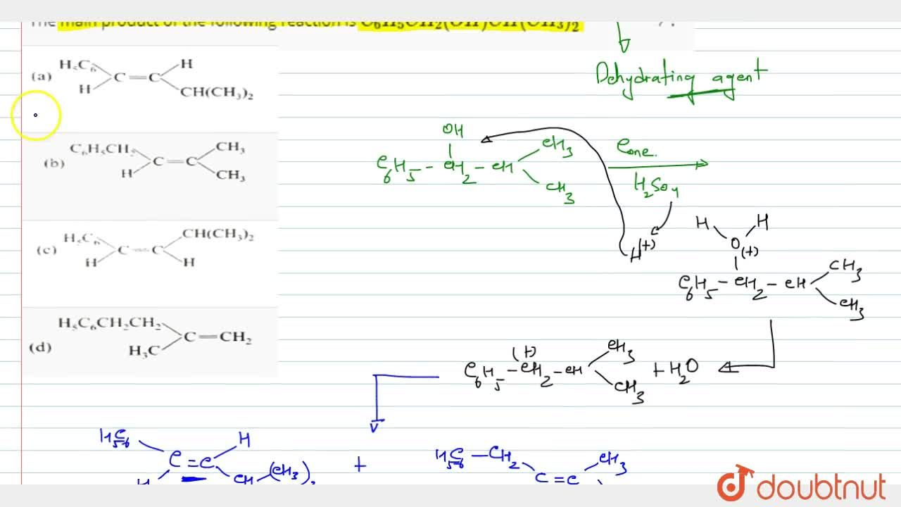 Solution for The main product of the following reaction is C_(