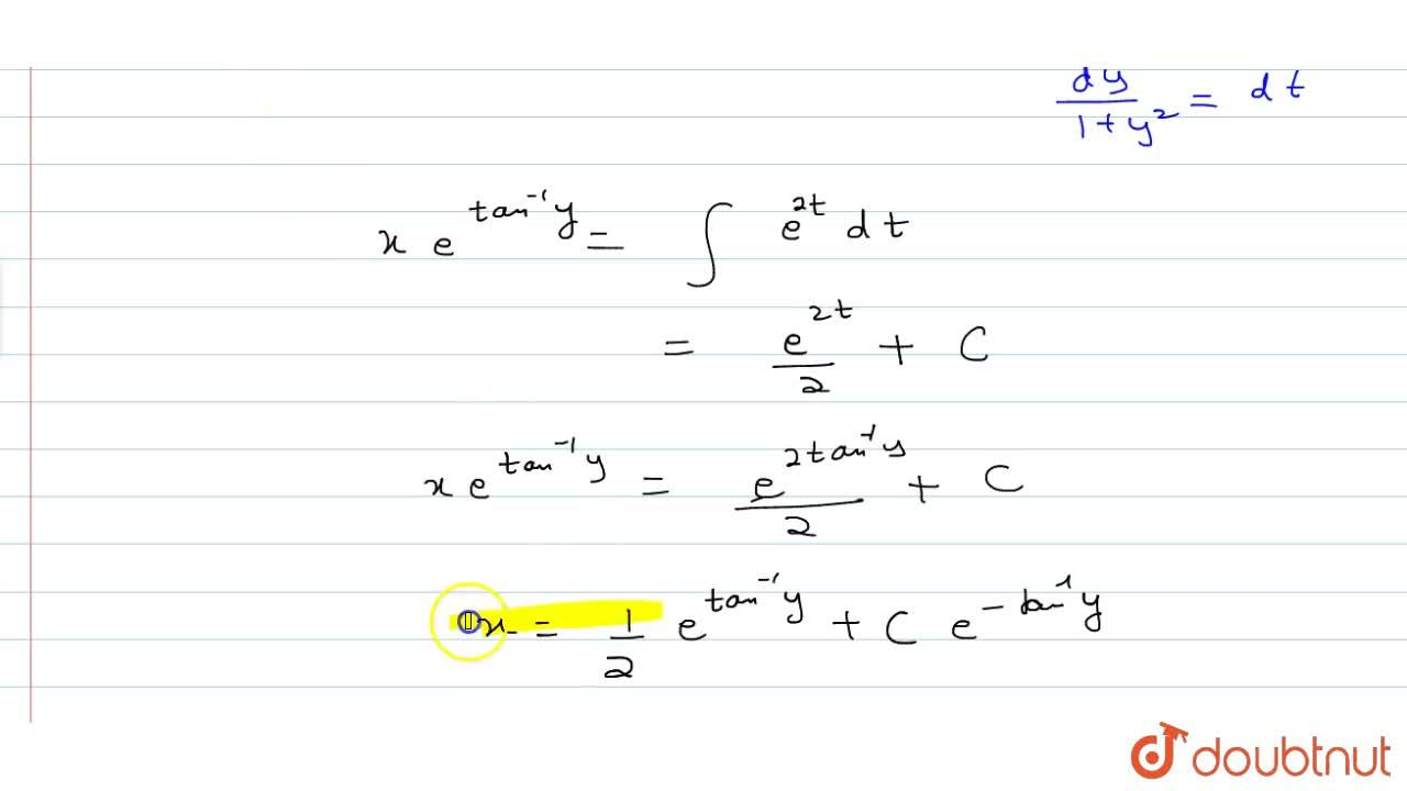 Solution for The solution of the differential equation (1+y^2)