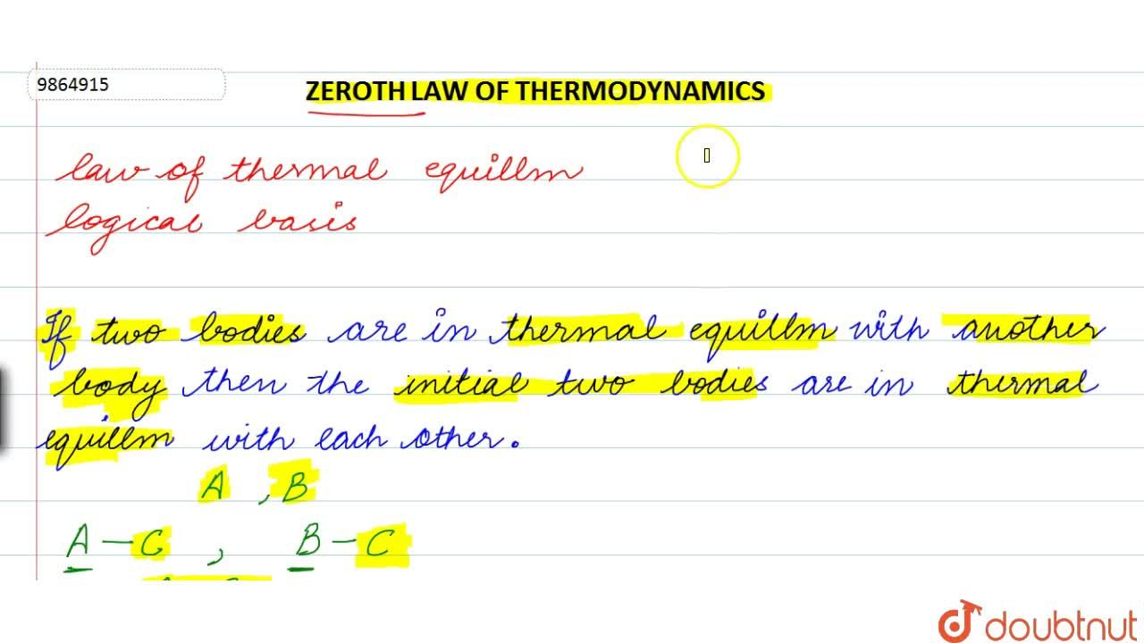 Solution for Zeroth Law Of Thermodynamics