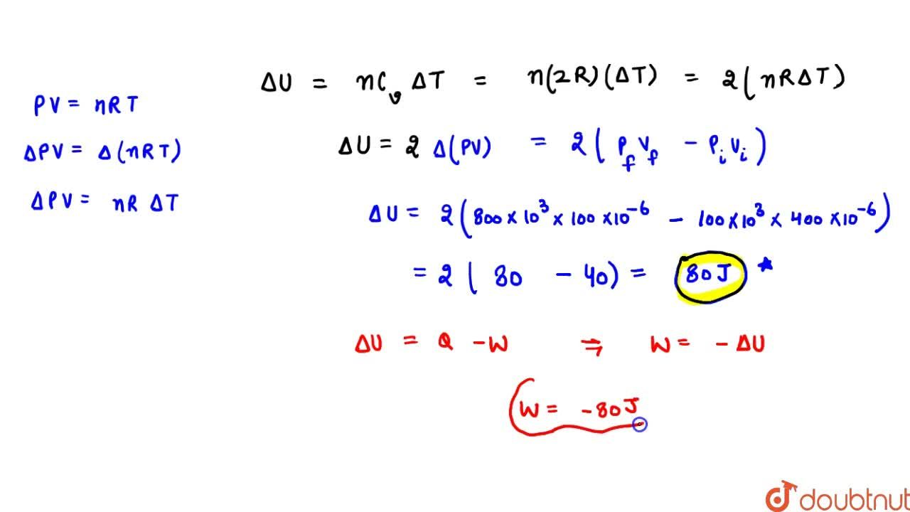 Solution for An ideal gas (gamma=3,,2) is compressed adiabati