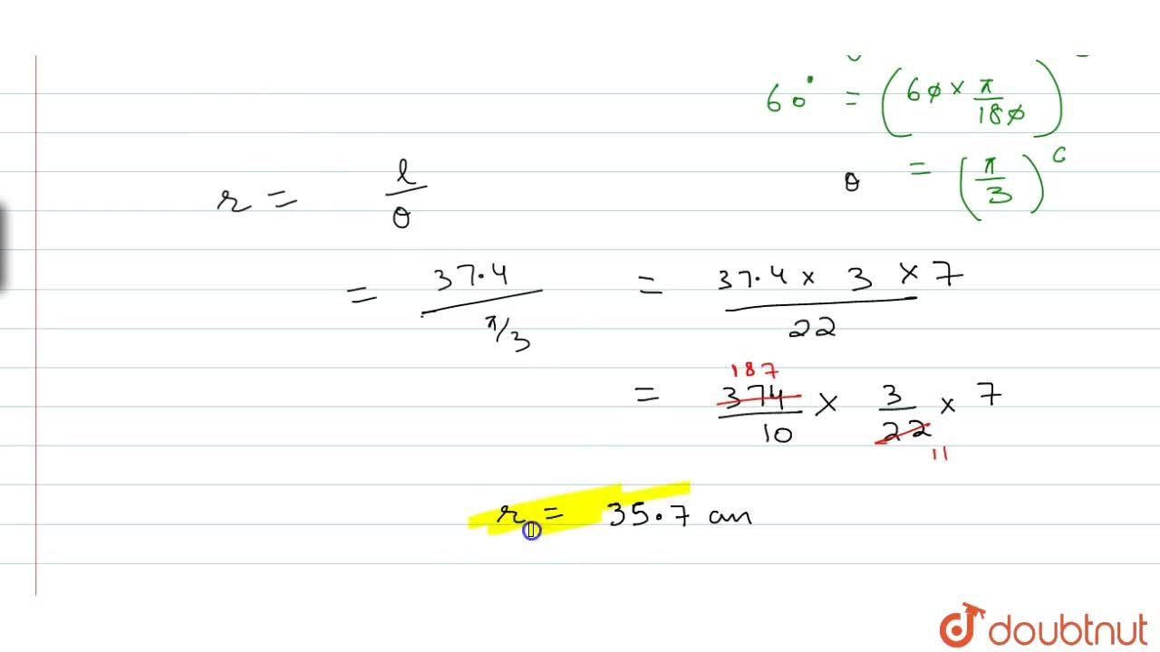 Solution for Find the radius of the circle in which a central a