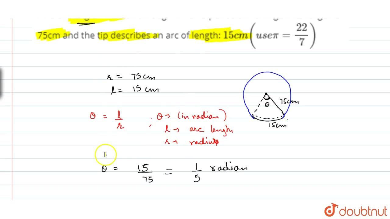 Solution for Find the angle in radian through which a pendulum