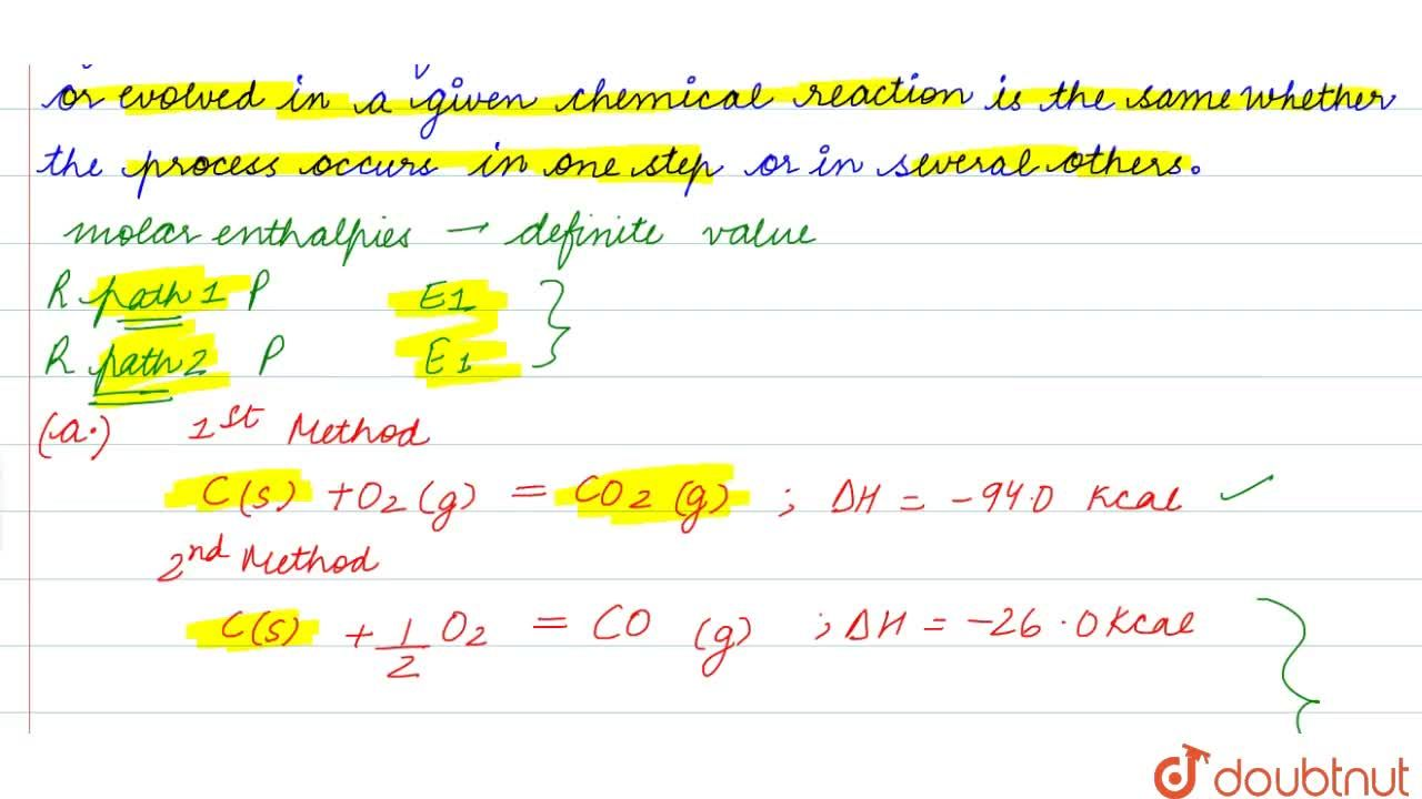 Solution for HESS'S LAW OF CONSTANT HEAT SUMMATION