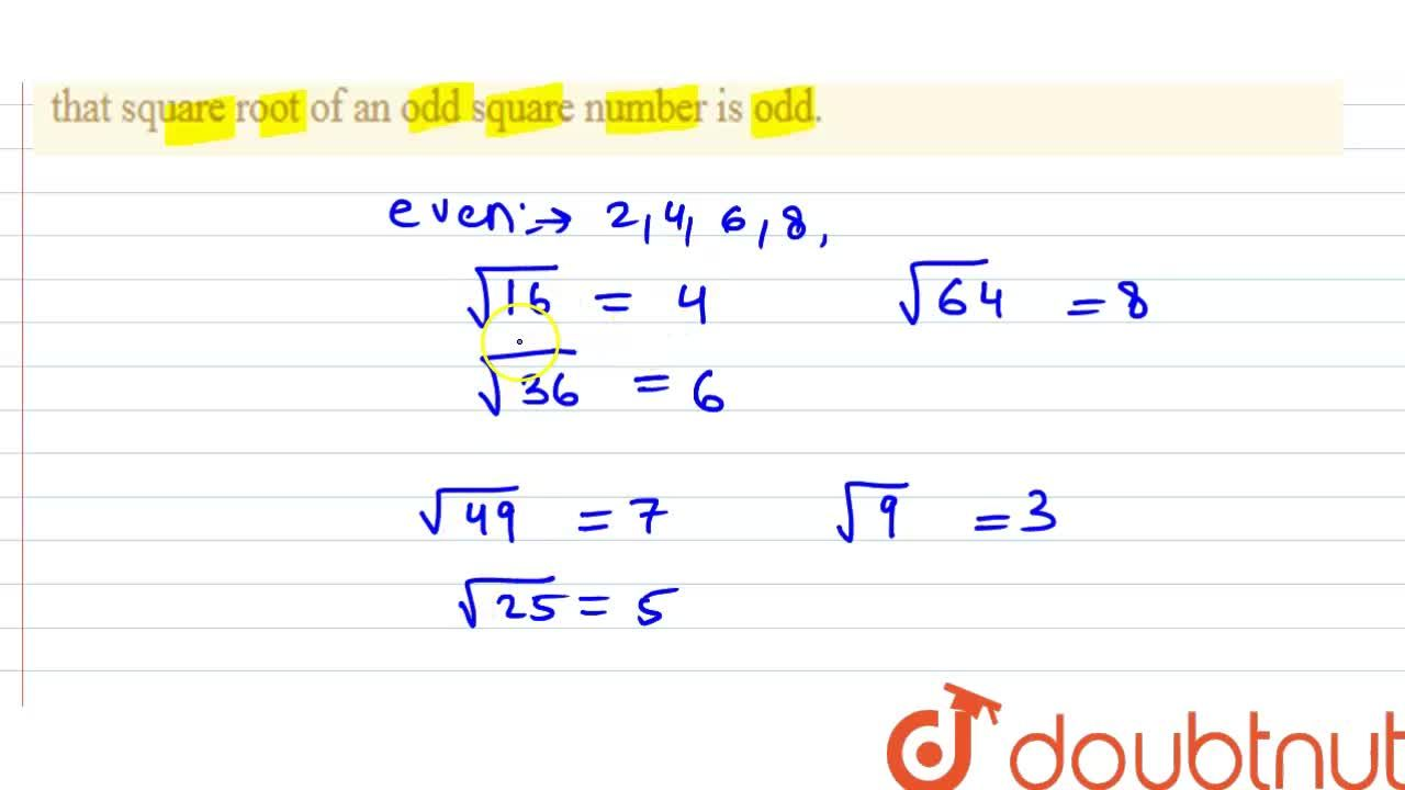 Solution for Property 3 The square root of an even square numbe