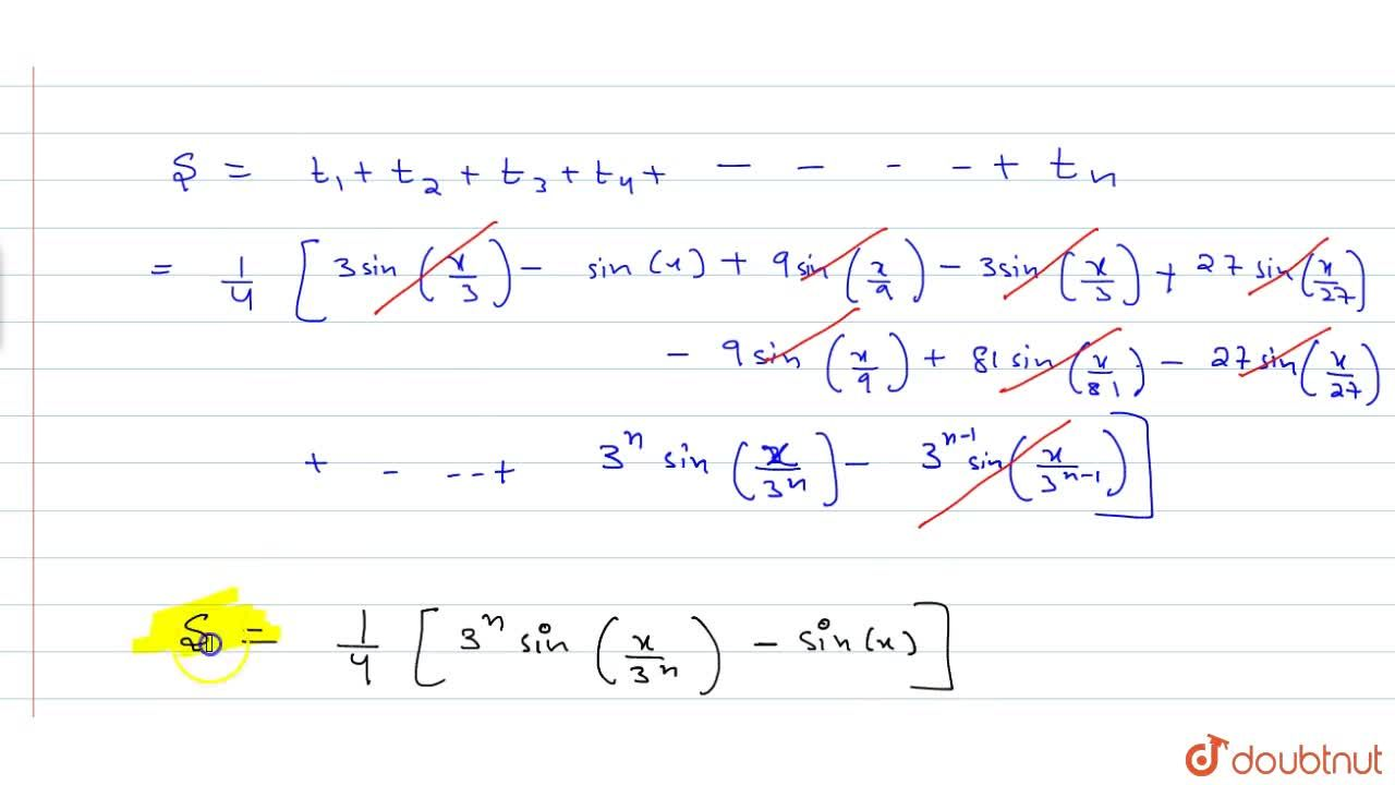 Find the sum of the series: sin^3 (x,3)+3sin^3 (x,3^2)+3^2 sin^3 (x,3^3)+… to n