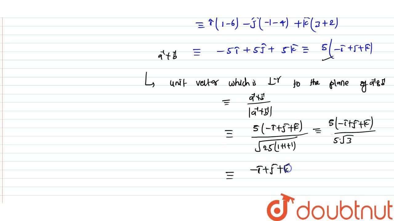 Find a unit vector perpendicular to the plane of two vectros. veca=hati-hatj+2hatk and vecb=2hati+3hatj-hatk