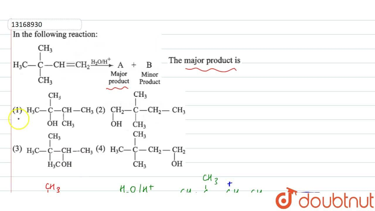 Solution for In the following reaction: <br> H_(3)C-underset(C