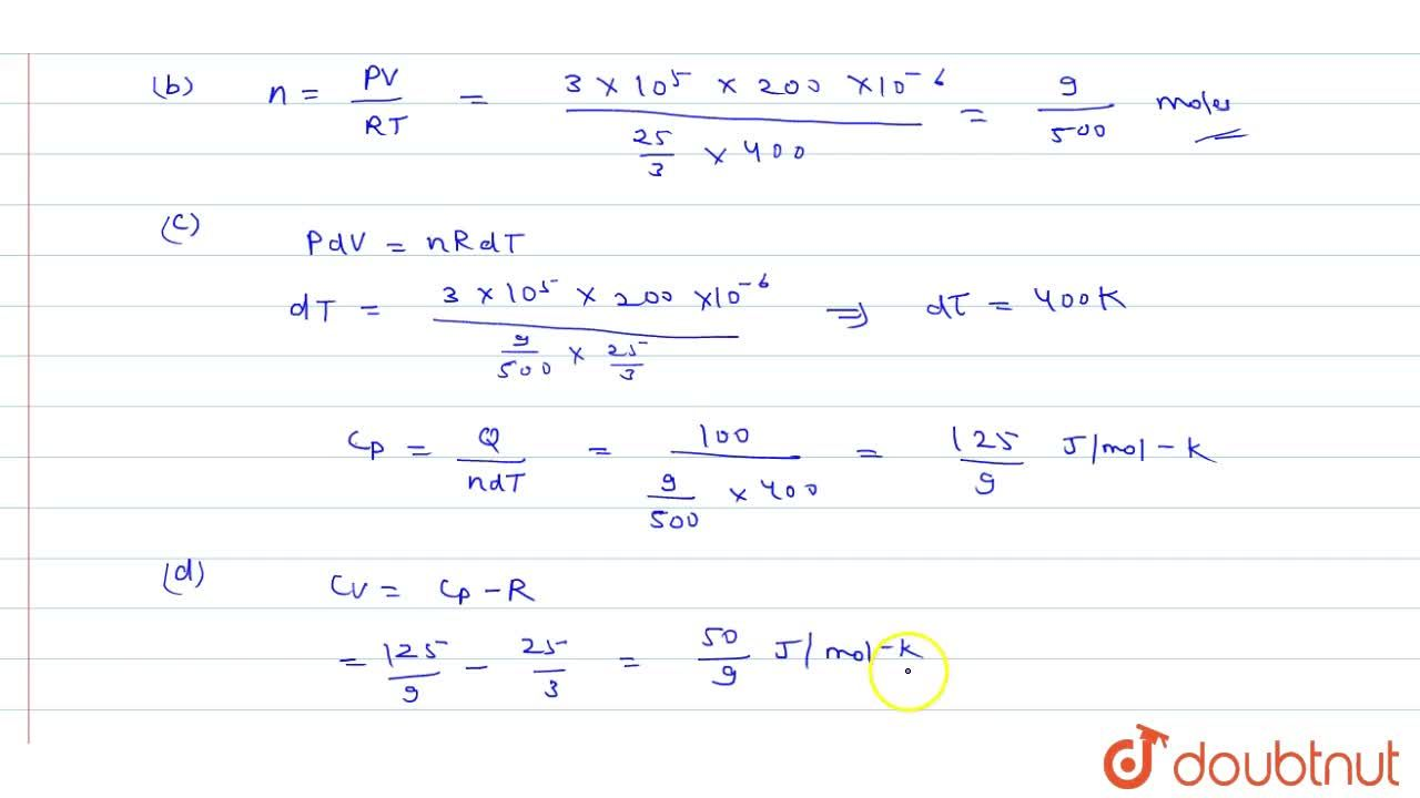 Solution for When 100J of heat is given to an ideal gas it ex