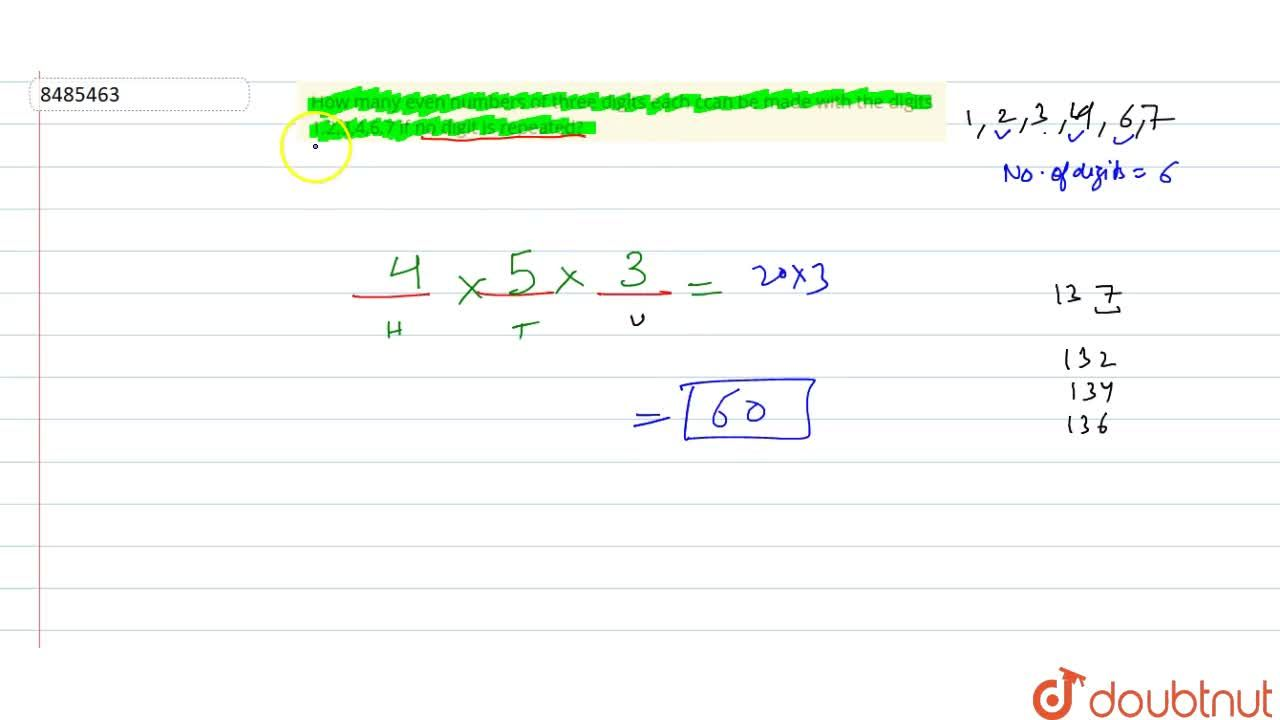 Solution for How many even numbers of three digits each ccan be
