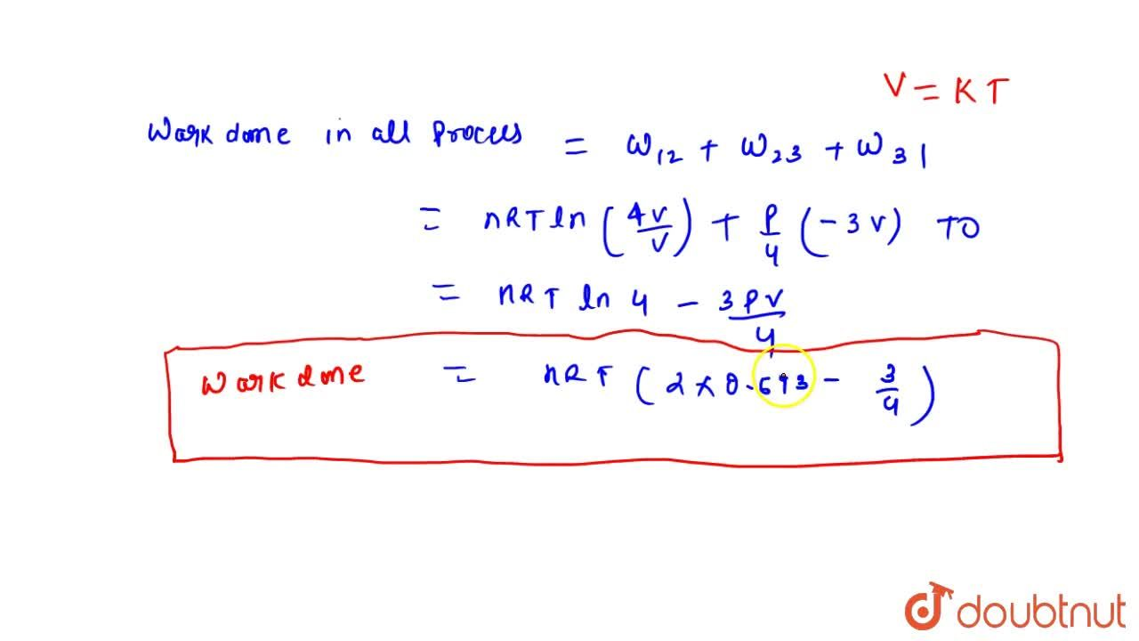 Solution for An ideal gas intially has pressure P volume V