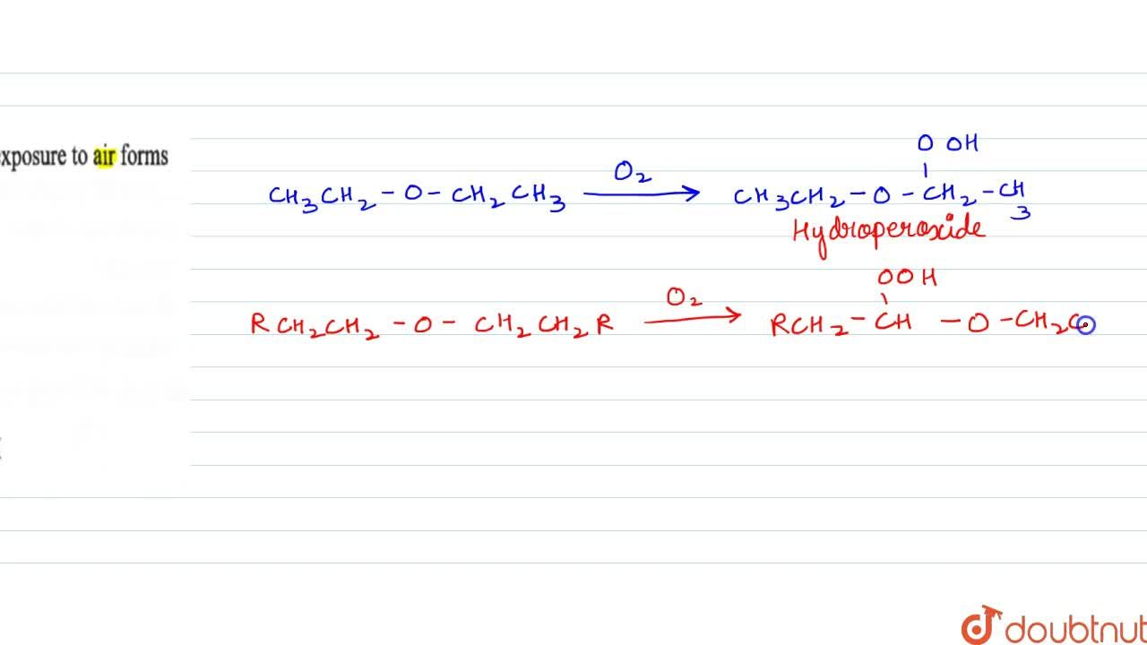 Solution for Diethyl ether on prolonged exposure to air forms