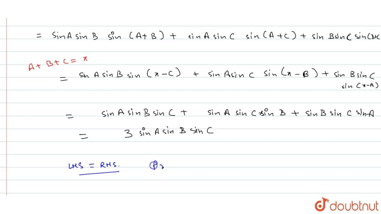 Solution for If A+B+C=pi, show that : 1,2 sum sin^2 A (sin 2