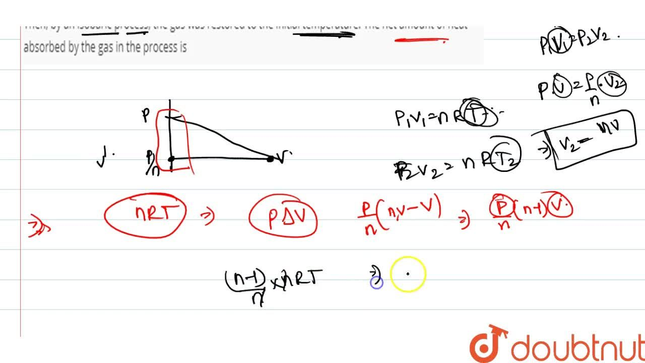 Solution for   One mole of an ideal gas at temperature T was co
