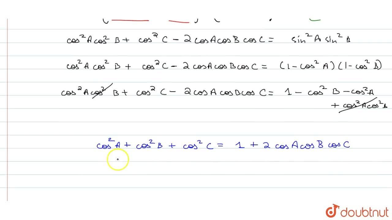 Solution for If A+B+C=0 , Prove :cos^2 A + cos^2 B +cos^2 C=