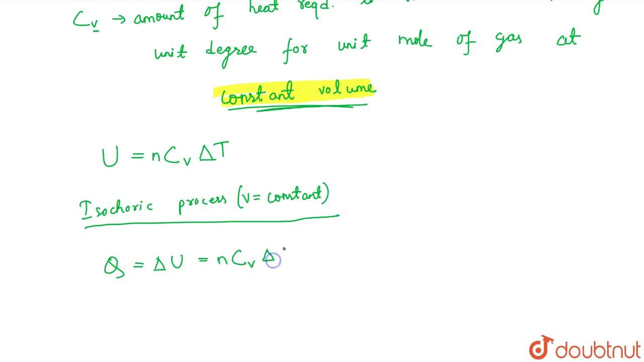 Solution for SPECIFIC HEAT OF A GAS AT CONSTSNT VOLUME (CV)