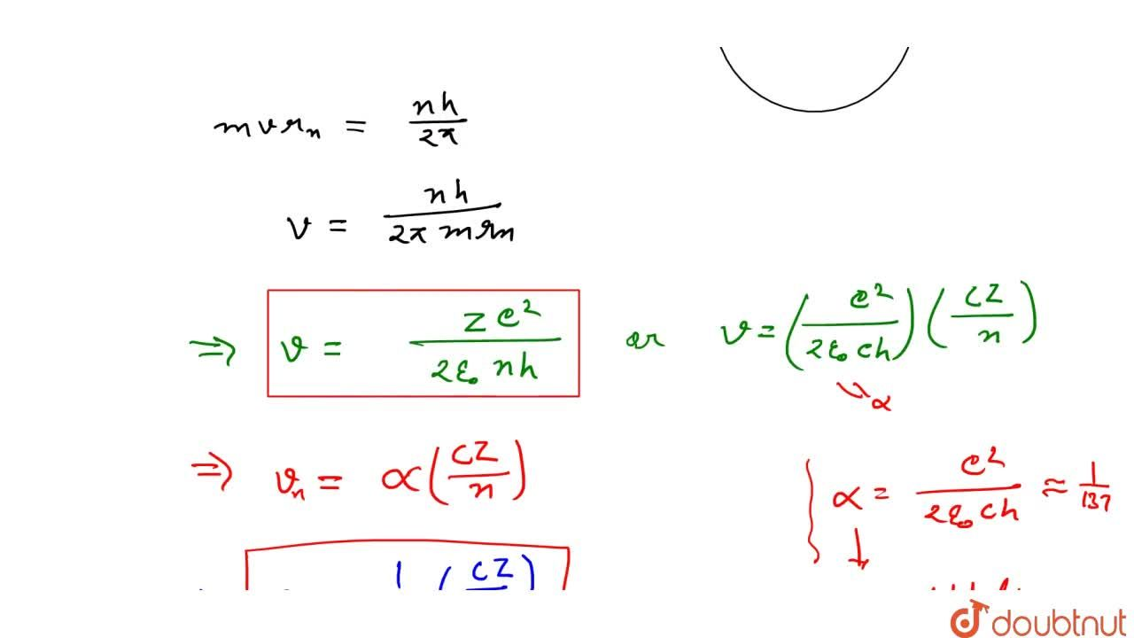 Solution for Velocity Of Electron In Nth Orbit