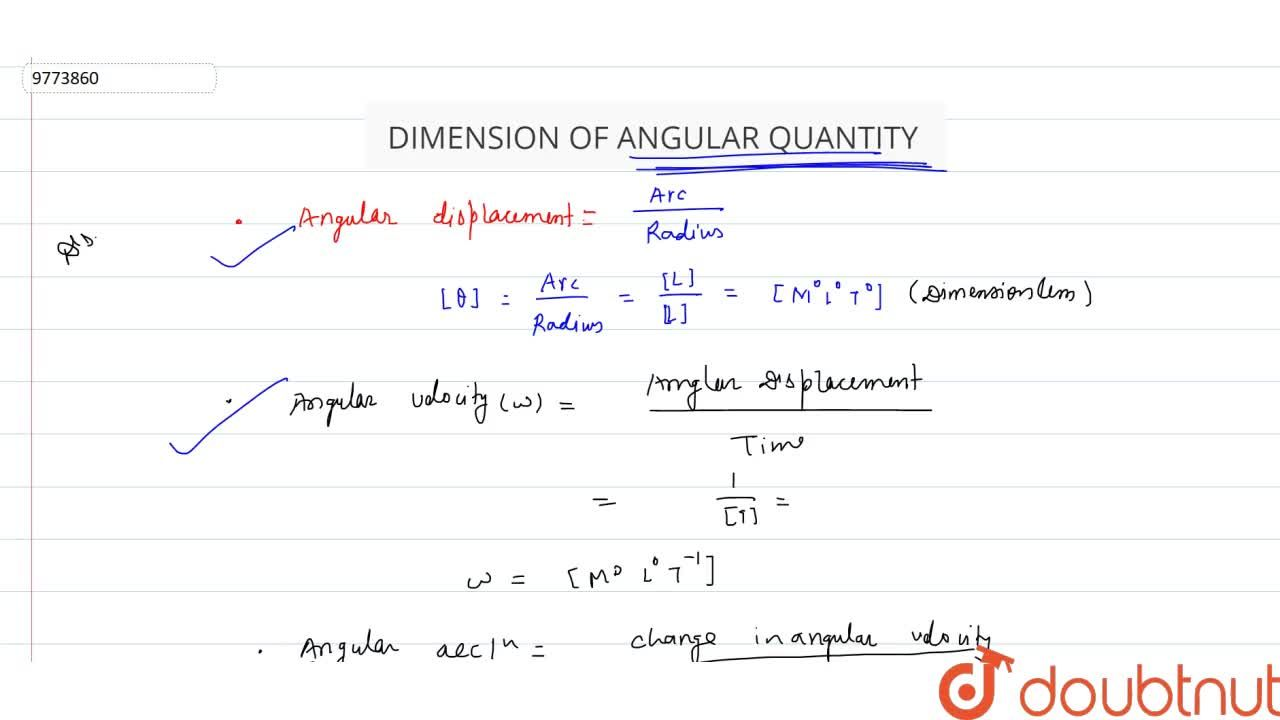Solution for Dimension Of Angular Quantity