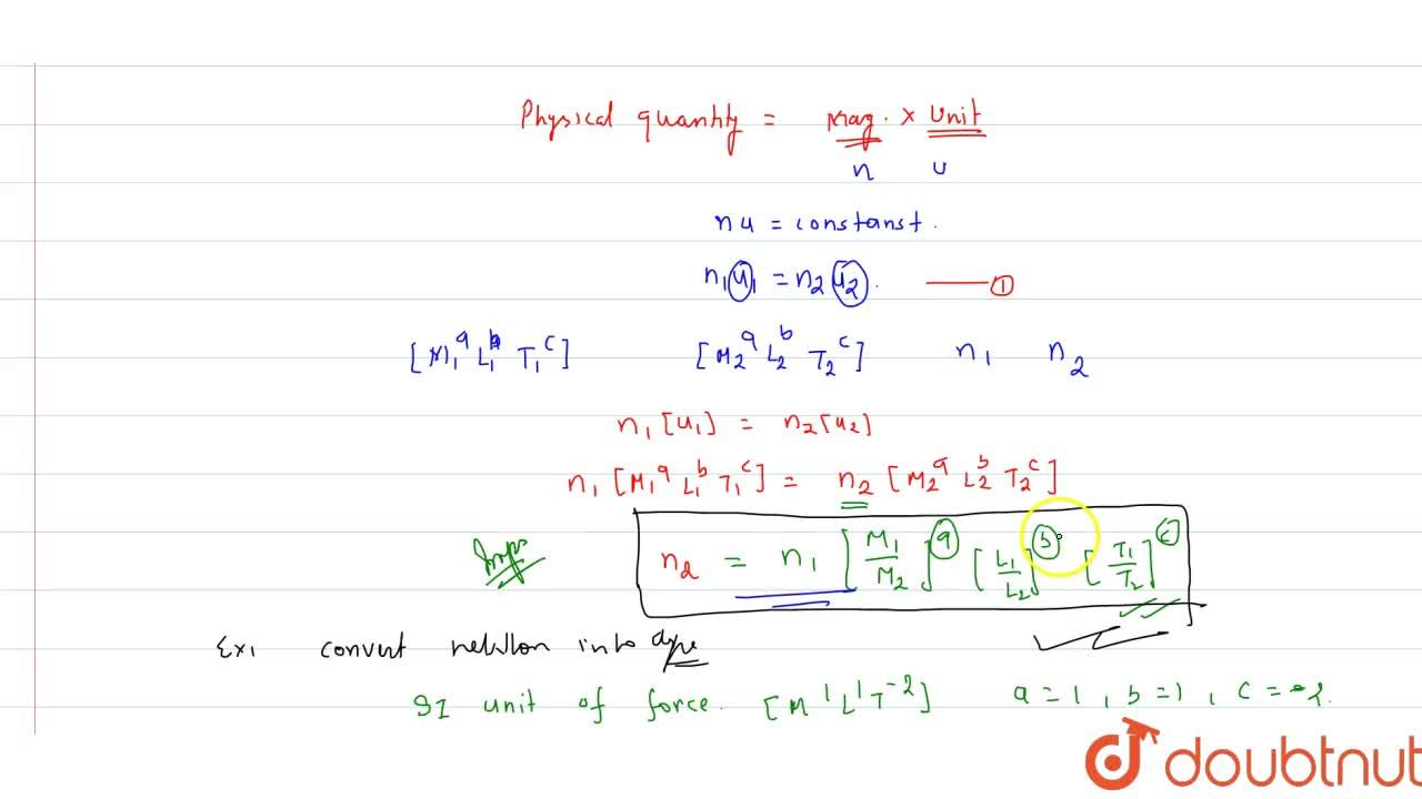 Solution for Conversion Of A Physical Quantity From One System