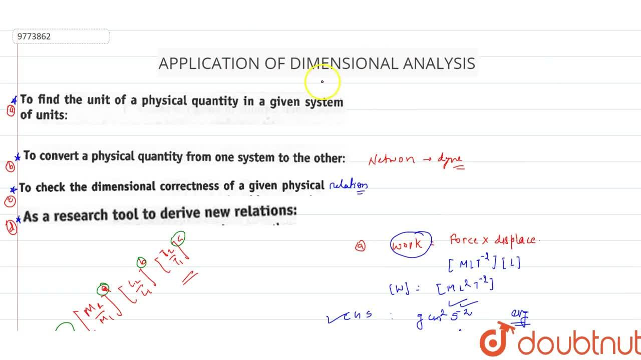 Solution for Application Of Dimensional Analysis