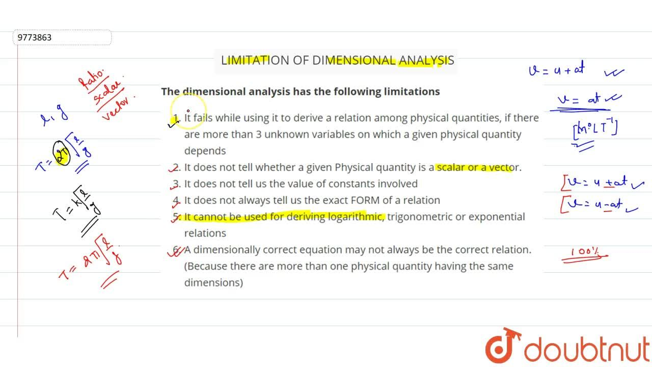 Solution for Limitation Of Dimensional Analysis
