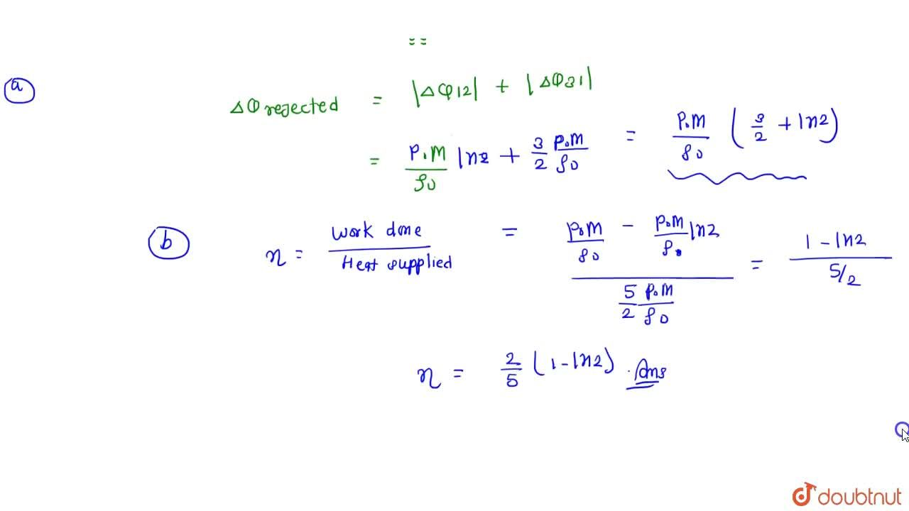 Solution for One mole of a mono atomic gas of molar mass M unde