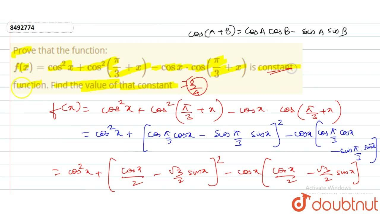 Solution for Prove that the function: f(x)=cos^2x+cos^2(pi,3+x