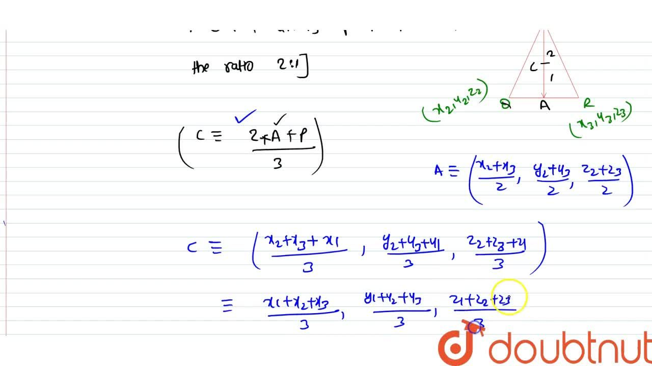 Solution for Find the coordinates of the centroid of a triangle