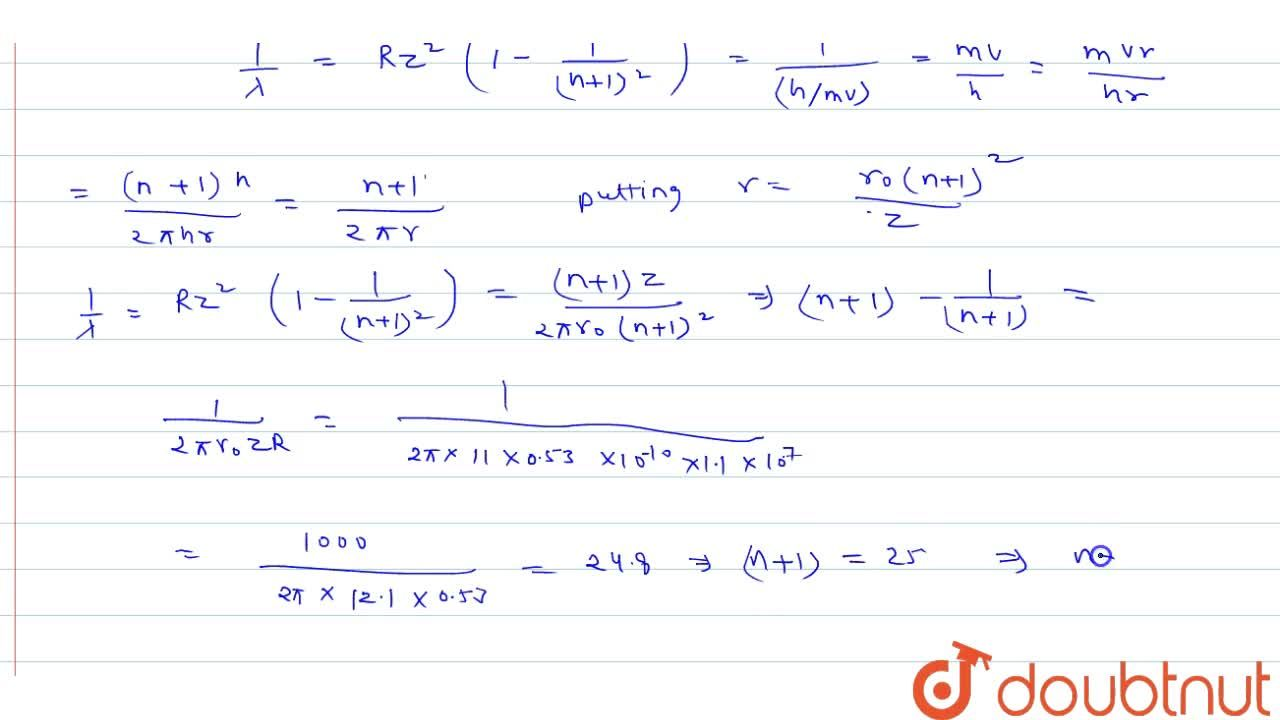 Solution for If the wavelength of the n^(th) line of Lyman se