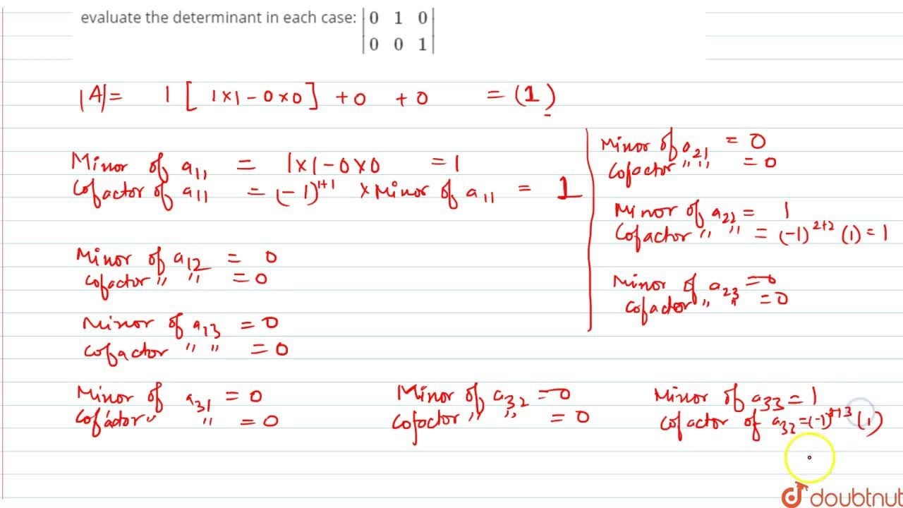 Solution for Write the minor and cofactor of each element of th
