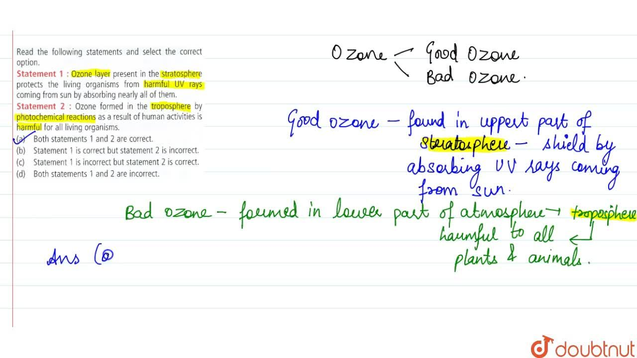 Solution for Read the following statements and select the corre